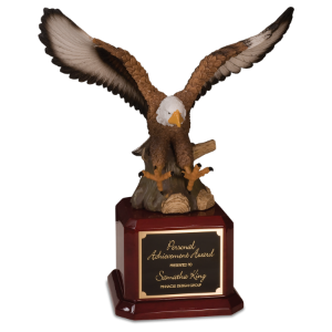 Hand Painted Eagle on a Rosewood Finish Base